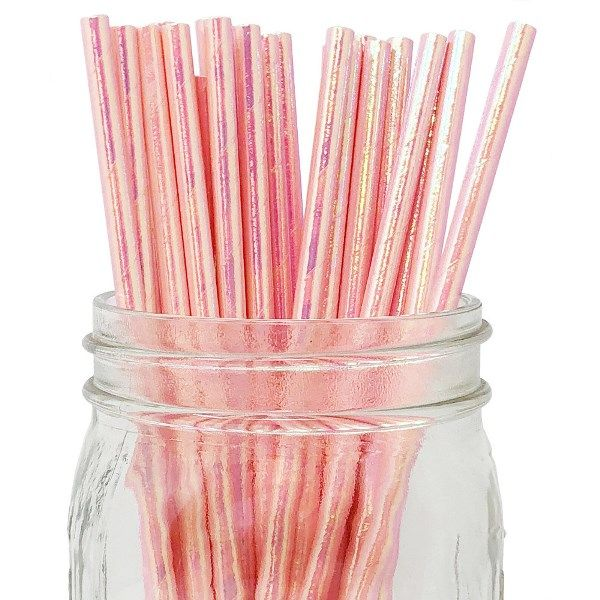 Solid Paper Straws 25pcs Iridescent Pink