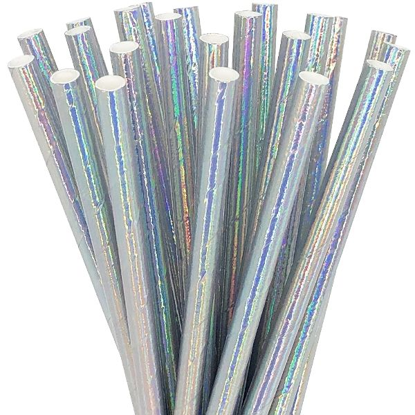 Solid Paper Straws 25pcs Iridescent Silver
