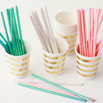 Solid Paper Straws 25pcs Iridescent White