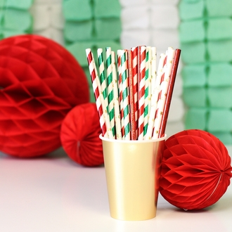 Solid Paper Straws 25pcs Metallic Red