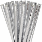 Solid Paper Straws 25pcs Metallic Silver