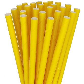 Solid Paper Straws 25pcs Sunflower Yellow