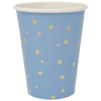 Solid Party Paper Cups w/Gold Foil Stars (24pcs, Blue) - Premier