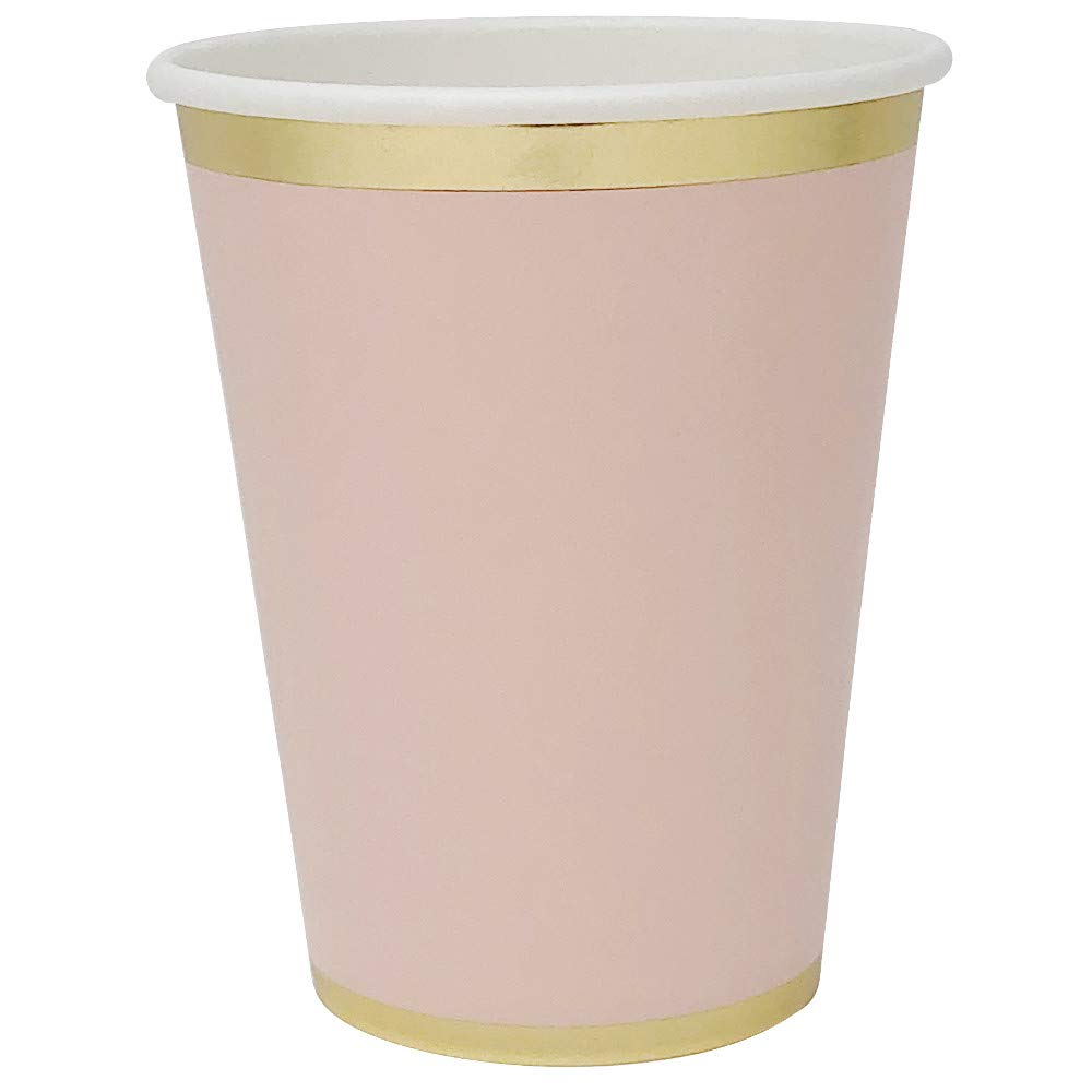 Solid Party Paper Cups w/Gold Foil Trim (24pcs, Light Pink) - Premier