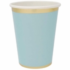 Solid Party Paper Cups w/Gold Foil Trim (24pcs, Sky Blue) - Premier