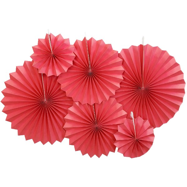 Solid Red Paper Pinwheel Decorating Kit 6pcs