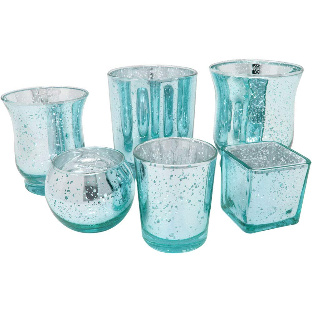 Speckled Aqua 6pcs Assorted (Size, Style) Mercury Glass Votive Tealight Candle Holder Set - Premier