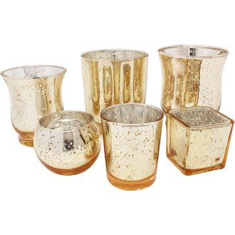 Speckled Gold 6pcs Assorted (Size, Style) Mercury Glass Votive Tealight Candle Holder Set - Premier