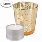 "Speckled Mercury Glass�Votive�Candle Holder 2.75""H�(12pcs,�Gold Votives) w/ 12pcs Wax Tea Light Candles Included - Premier"