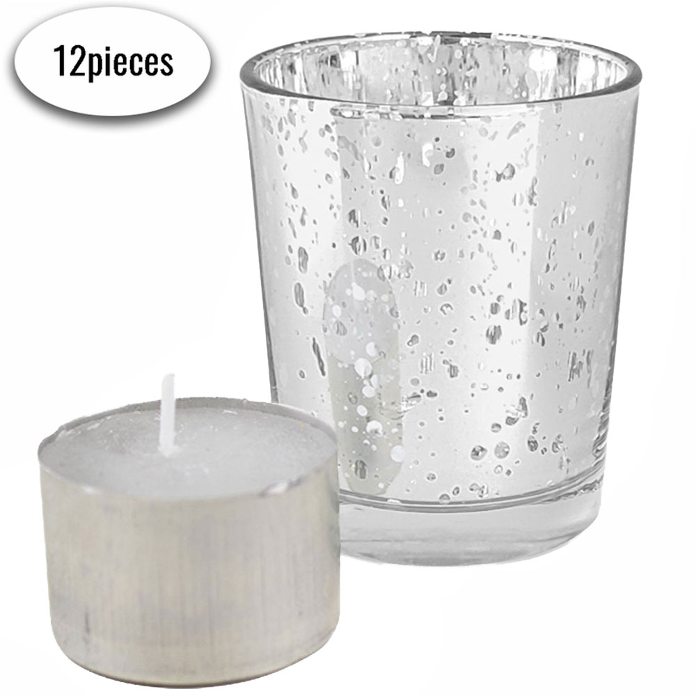 "Speckled Mercury Glass�Votive�Candle Holder 2.75""H�(12pcs,�Silver Votives) w/ 12pcs Wax Tea Light Candles Included - Premier"