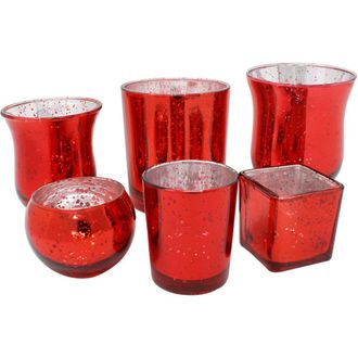 Speckled Red 6pcs Assorted (Size, Style) Mercury Glass Votive Tealight Candle Holder Set - Premier
