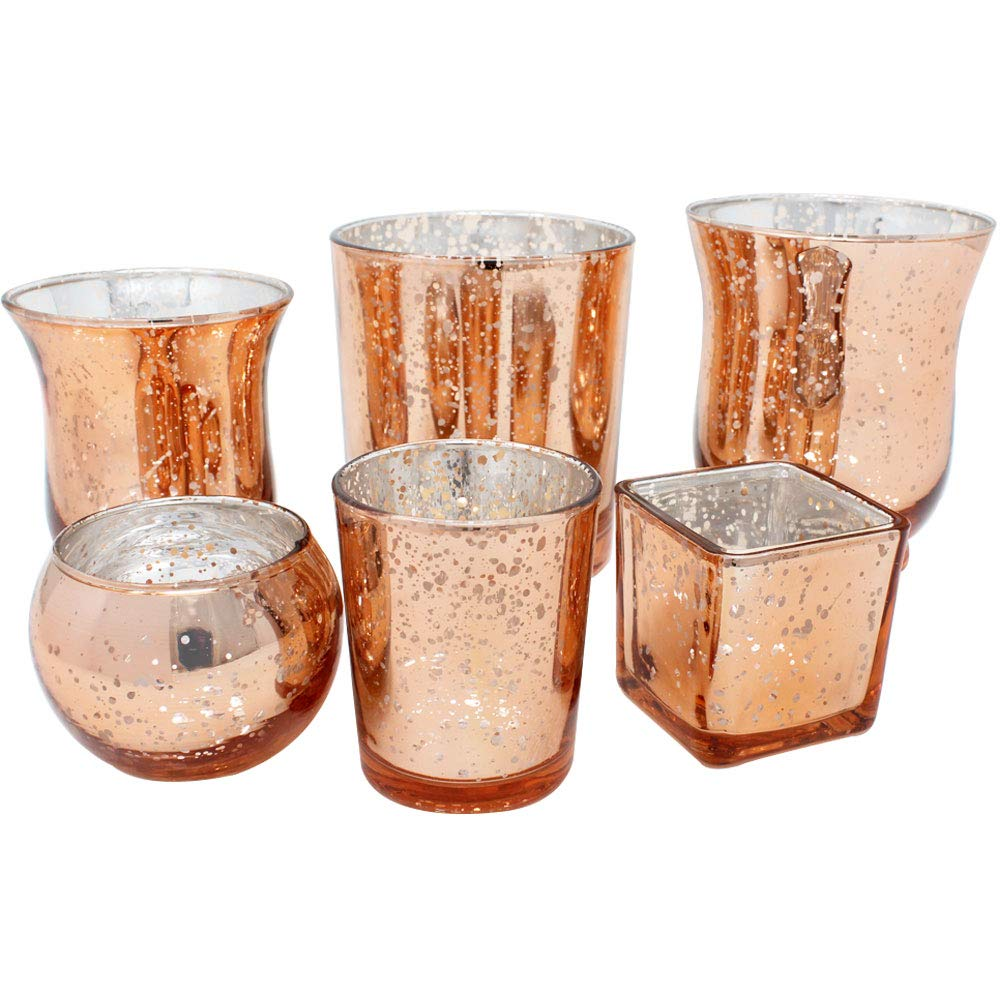 Speckled Rose Gold 6pcs Assorted (Size, Style) Mercury Glass Votive Tealight Candle Holder Set - Premier