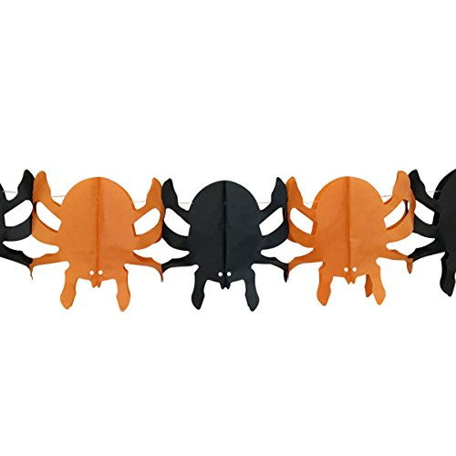 Spooky Spider Expandable Tissue Paper Garland Party Streamers (6 Pack, Orange/Black) - Premier