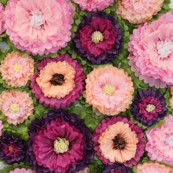 Spring Blooms Tissue Flower Wall Decorating Kit
