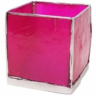 Square Capiz Candle Holder Fuchsia and Silver Luana