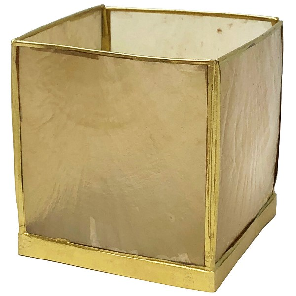 Square Capiz Candle Holder Gold Luana
