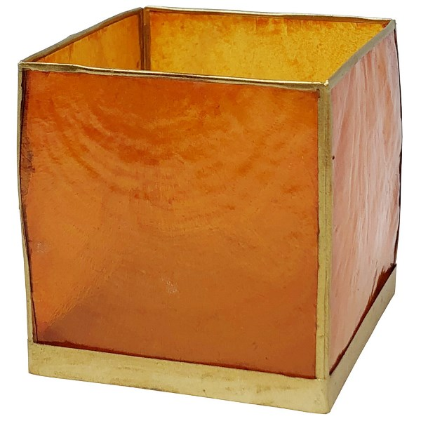 Square Capiz Candle Holder Mango Orange and Gold Luana