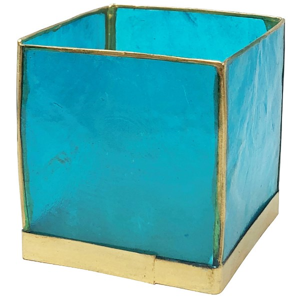 Square Capiz Candle Holder Turquoise and Gold Luana