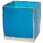 Square Capiz Candle Holder Turquoise and Silver Luana