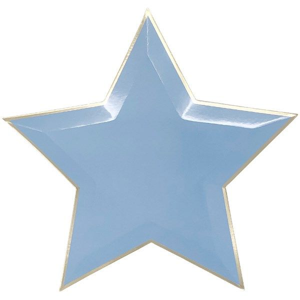 Star Shaped Blue Gold Foil Trim Paper Plates 10in 8pcs