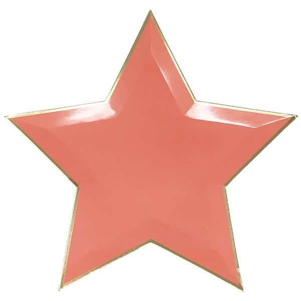 Star Shaped Coral Gold Foil Trim Paper Plates 10in 8pcs