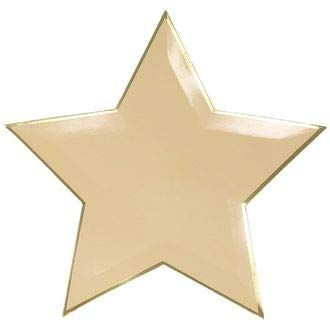 Star Shaped Decorative Paper Plates 10in (24pcs) - Peach with Gold Foil Trim - Premier
