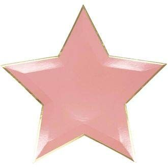 Star Shaped Decorative Paper Plates 10in (24pcs) - Pink with Gold Foil Trim - Premier
