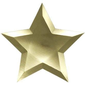 Star Shaped Decorative Paper Plates 10in (24pcs) - Solid Gold - Premier