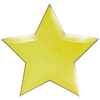 Star Shaped Decorative Paper Plates 10in (24pcs) - Yellow with Gold Foil Trim - Premier
