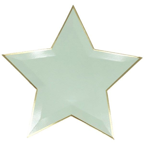 Star Shaped Mint Gold Foil Trim Paper Plates 10in 8pcs