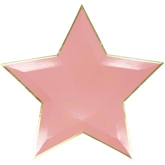 Star Shaped Pink Gold Foil Trim Paper Plates 10in 8pcs