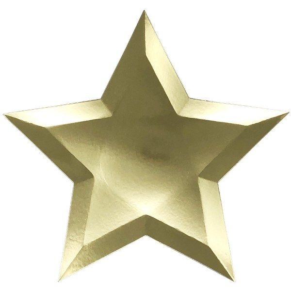 Star Shaped Solid Gold Paper Plates 10in 8pcs