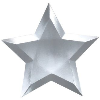 Star Shaped Solid Silver Paper Plates 10in 8pcs