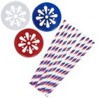 Stars and Stripes Mason Jar Beverage Kit 12pcs Lids 25pcs Paper Straws -Premier