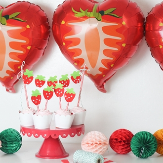Strawberry Foil Mylar Balloon