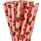 Strawberry Summer Pattern Paper Straws 25cs