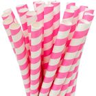 Striped Bubblegum Pink Boba Milkshake Wide Paper Straws 25pcs