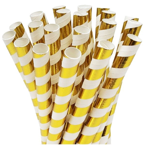 Striped Metallic Gold Boba Milkshake Wide Paper Straws 25pcs