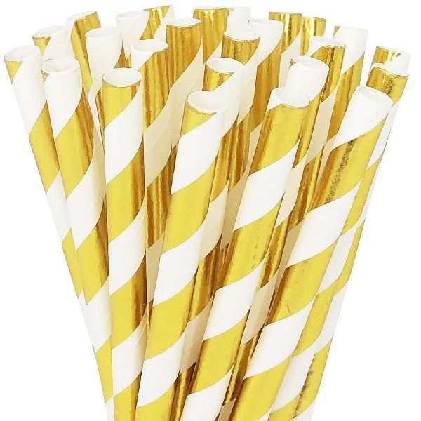 Striped Metallic Gold Short Cocktail Paper Straw 25pcs