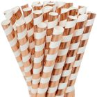 Striped Metallic Rose Gold Boba Milkshake Wide Paper Straws 25pcs