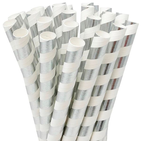 Striped Metallic Silver Boba Milkshake Wide Paper Straws 25pcs