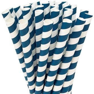 Striped Navy Boba Milkshake Wide Paper Straws 25pcs