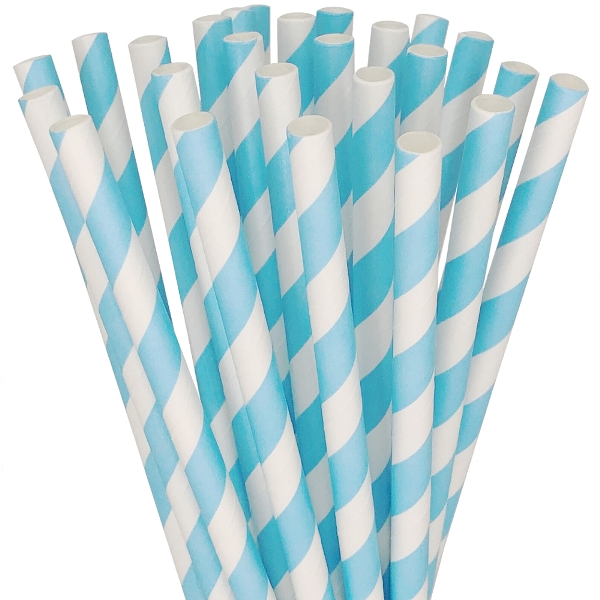 Striped Paper Straws 25pcs Baby Blue