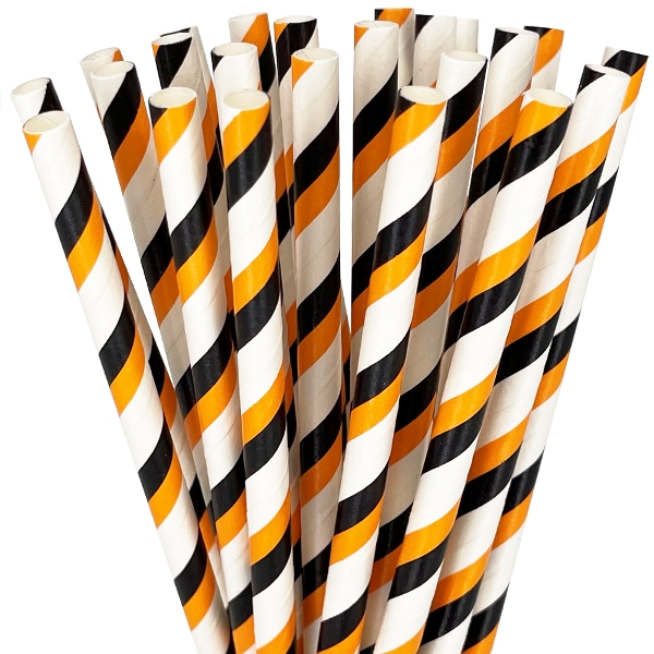 25pcs Striped Party Paper Straws Black & Orange