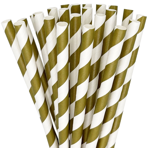 Striped Paper Straws 25pcs Gold