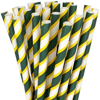 Striped Paper Straws 25pcs Pine Green & Yellow