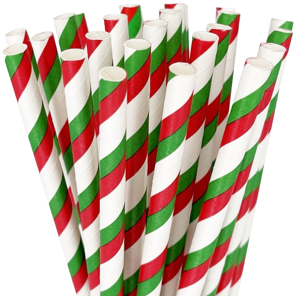 Striped Paper Straws 25pcs Red & Green