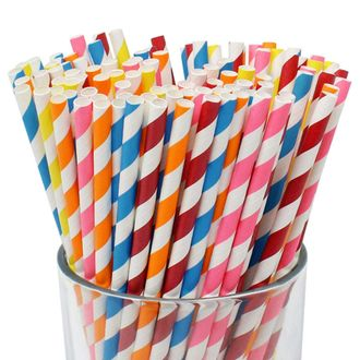 Striped Paper Straws (100pcs, Striped, Assorted Colors) - Premier