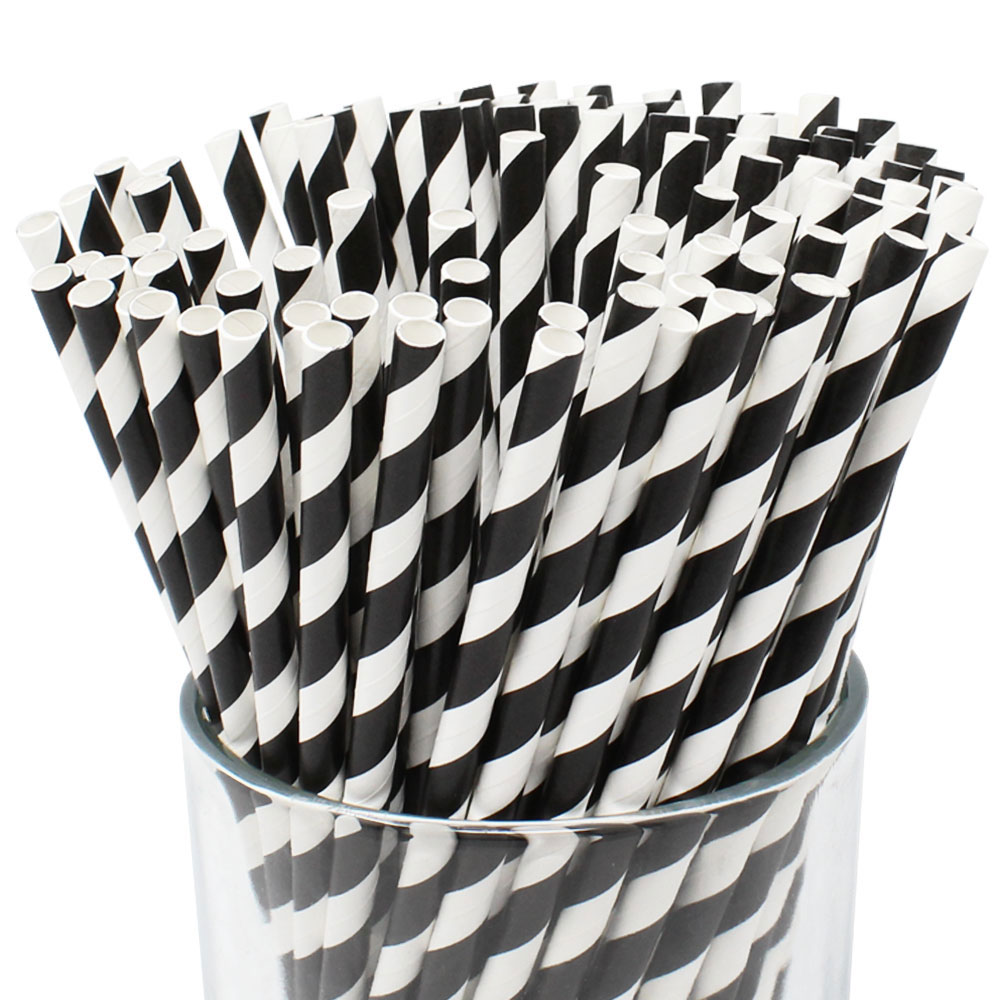 Striped Paper Straws (100pcs, Striped, Black) - Premier