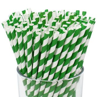 Striped Paper Straws (100pcs, Striped, Forest Green) - Premier